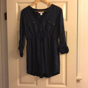 Navy and white polka dot maternity blouse - NEW!